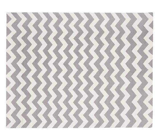 Chevron Wool Rug 3x5' Gray