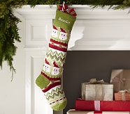 Green Santa Classic Fair Isle Stocking