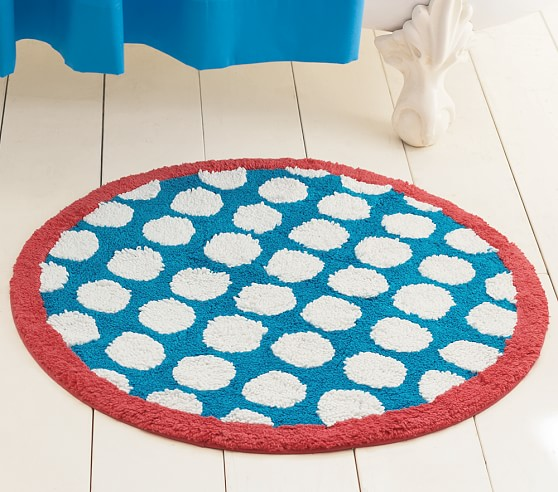 Round Dot Bath Mat, Blue