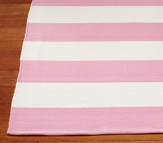 Rugby Cotton Dhurrie Mat (Pink) 5x8'