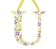 Printed Letter, U, Lavender Hibiscus