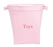 Large Canvas Bucket, Pink Mini Dot