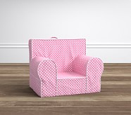 Light Pink Mini Dot with White Piping My First Anywhere Chair