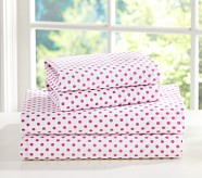 Mini Dot Sheet Set, Queen, Bright Pink