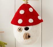 Felt Wool Birdhouse, White Mushroom