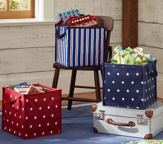 Collapsible Storage, Navy Stripe
