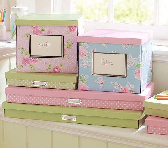 Cameron Creativity Storage, Small Flat Box, Pink Dot