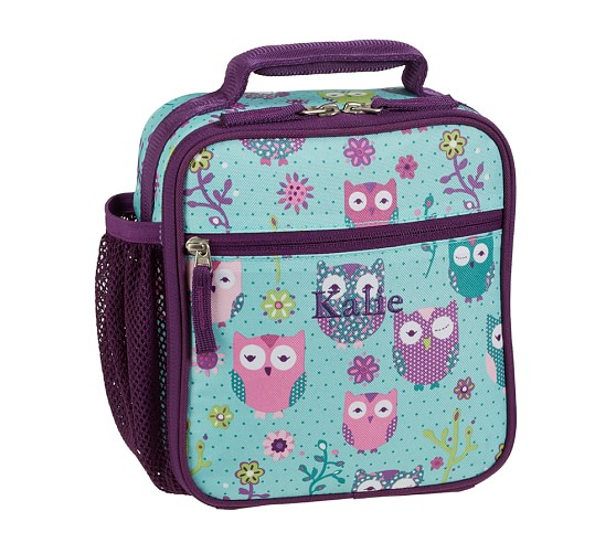 Mackenzie Turquoise Owl Classic Lunch Bag