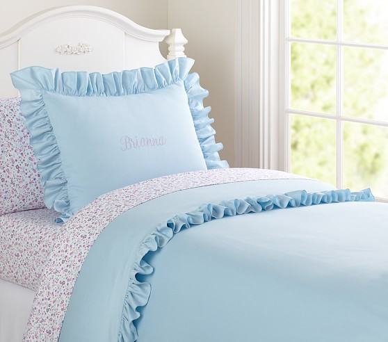 Ruffle Duvet Cover, Blue, Twin