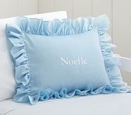 Ruffle Small Decorative Sham, Blue