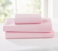 Gingham Toddler Sheet Set, Pink