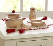 Red Wooden Pots & Pans