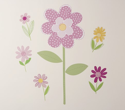 Daisy Garden Wall Decals, Set of 5 small flowers