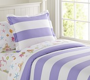 Rugby Stripe Duvet Cover, Twin, Lavender