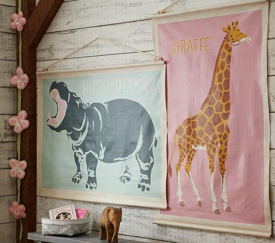 Giraffe Canvas Art: Pink