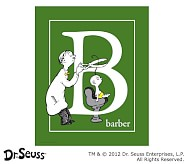 Dr. Seuss™ Alphabet Prints, Letter B, Green, Barber