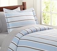 Jackson Stripe Duvet Cover, Twin, Blue/Brown