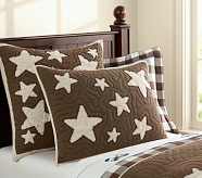 Star Quilted Sham, Standard, Chocolate