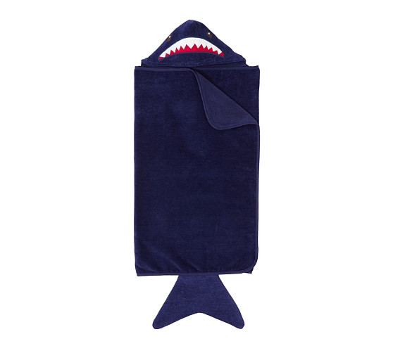 Animal Bath Wrap, Navy Shark