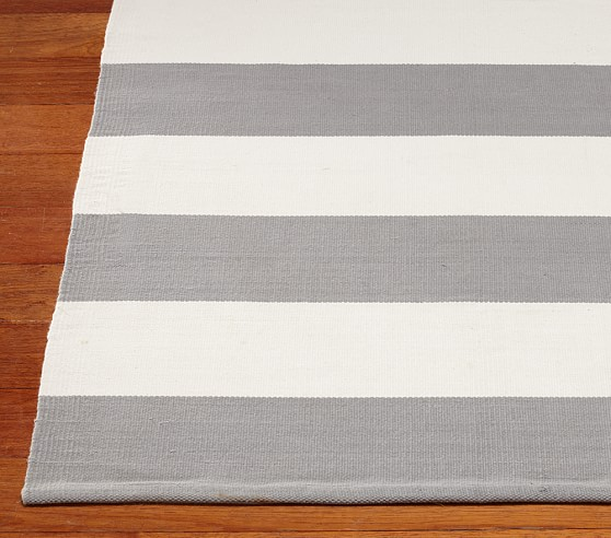 Rugby Cotton Dhurrie Mat (Gray) 3x5'