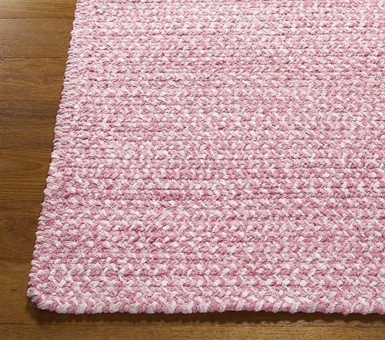 Pink Evan Chenille Braided Rug Swatch