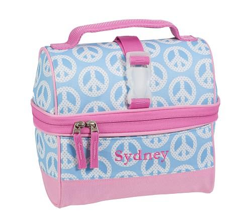 Mackenzie Aqua Peace Retro Lunch Bag