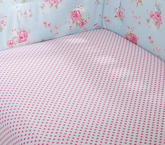 Organic Mini Dot Crib Fitted Sheet, Bright Pink