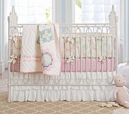 Maya Floral Nursery Quilt Bedding Set: Crib Fitted Sheet, Toddler Quilt & Crib Skirt