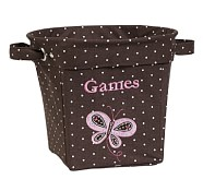 Brown Butterfly Appliqué Tote, Medium