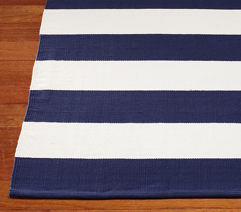 Rugby Cotton Dhurrie Mat (Navy) 8x10'