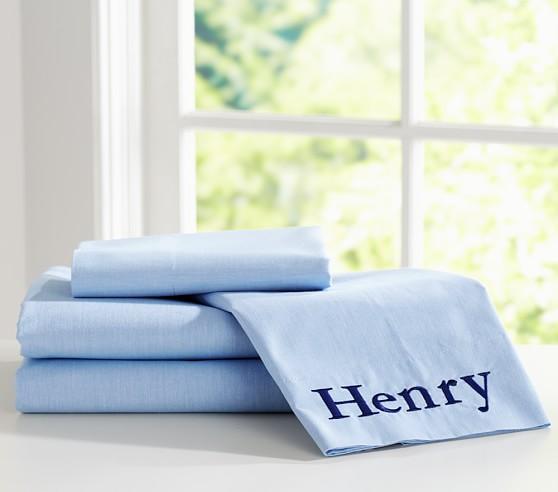 Chambray Sheet Set, Twin, Blue