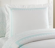 Embroidered Standard Sham, Aqua