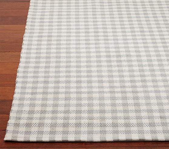 Gingham Chenille Mat 3x5' Gray