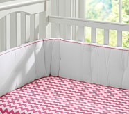 Harper Chevron Nursery Bumper Bedding Set: Crib Skirt, Crib Fitted Sheet & Bumper, Bright Pink