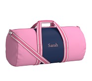 Large Duffle Bag, Fairfax Pink/Navy Stripe, No Patch