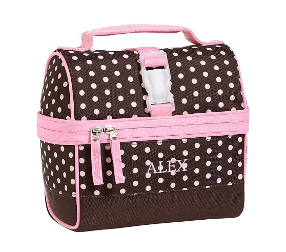 Mackenzie Chocolate Dot Retro Lunch Bag