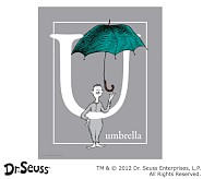 Dr. Seuss™ Alphabet Prints, Letter U, Grey, Umbrella
