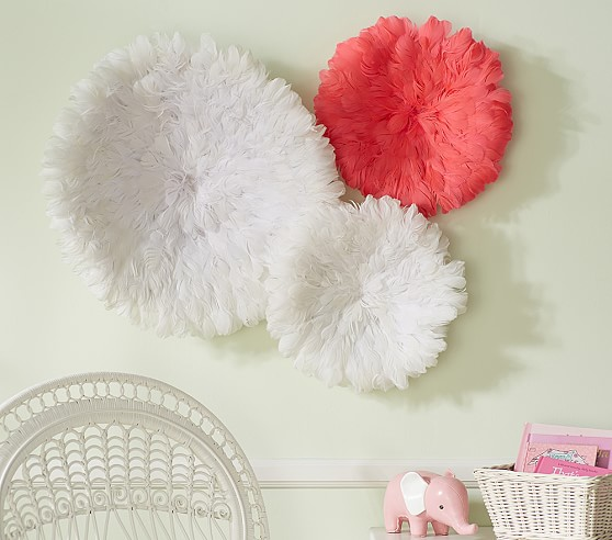 Feathered Art Decor, Small Coral