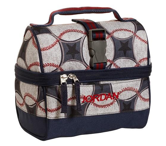 Mackenzie Blue Baseball Retro Lunch Bag