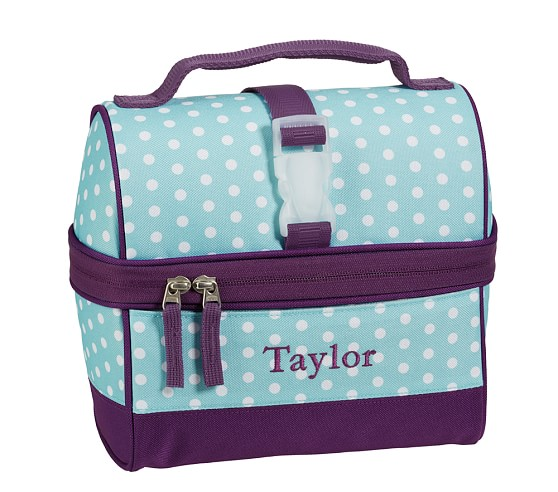 Mackenzie Turquoise Dot Retro Lunch Bag