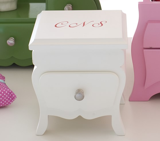 Mini Table Jewelry Box, White