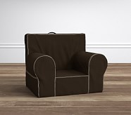 Anywhere Chair® Insert & Slipcover Set, Chocolate/Khaki Stitch