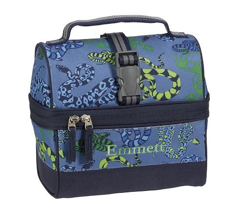 Mackenzie Blue Snake Retro Lunch Bag