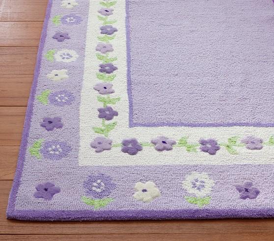 Floral Border Rug, 3X5', Lavender