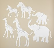 White Safari Animal Decals, Elephants, Set of 2