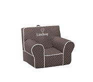 Mini Dot Anywhere Chair® Slipcover Only, Chocolate with White Piping