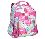 Mackenzie Aqua Hibiscus Small Backpack