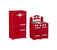 Retro Kitchen Oven & Icebox Set, Red