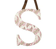 Printed Letter, S, Pink Paisley