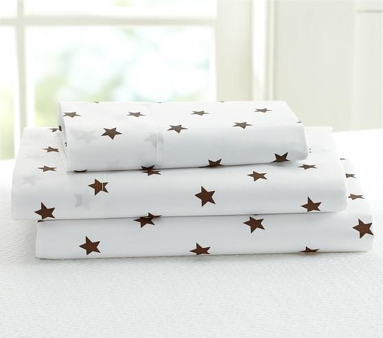 Star Toddler Sheet Set, Brown